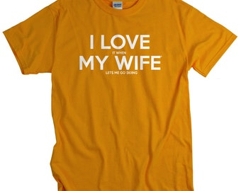 Skiing gift for husband ski shirts for men funny Love Wife Lets Me Go Skiing T Shirt anniversary birthday gift I LOVE it when MY Wife® Brand