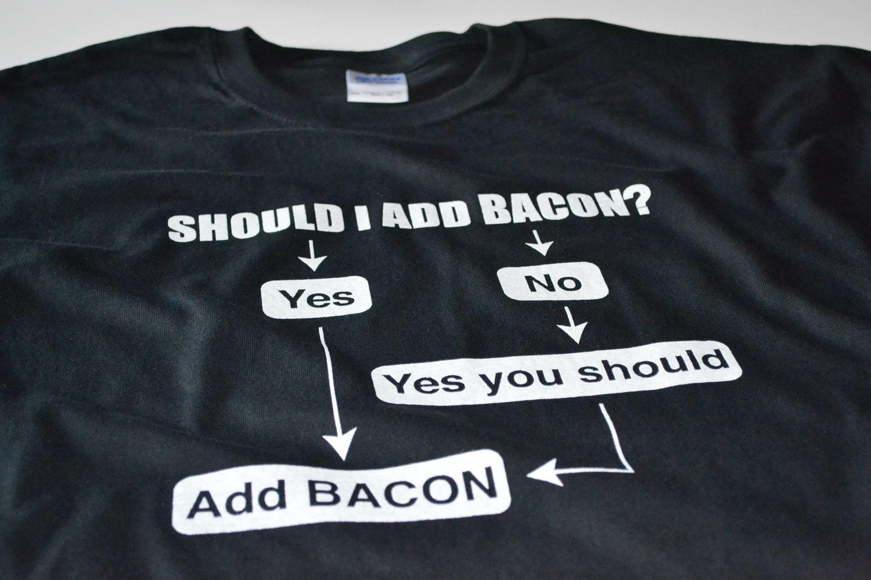 71ec730dce0 Funny Bacon Shirts Mens Clothing Bacon Flow Chart Shirt