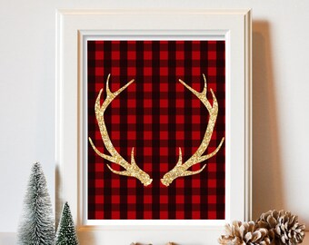 Red plaid gold antlers Rustic decor digital printable Wall art Holiday decor Poster Instant download print