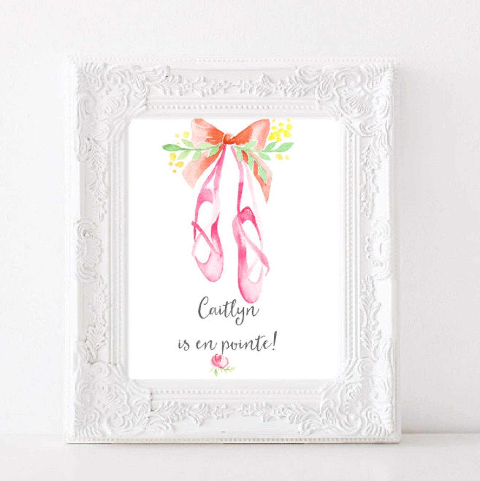 ballerina personalized digital print diy home decor wall art ballet printable nursery decor girls room print. light or dark comp