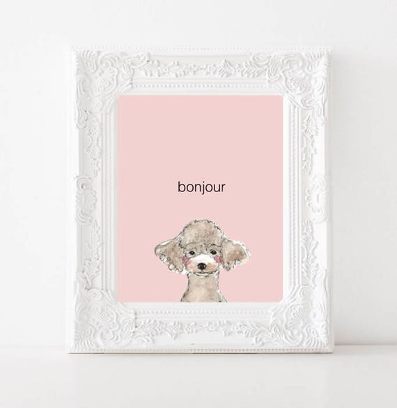 Poodle Watercolor Print Bonjour Blush Pink Background Digital Print Home Decor Wall Art Pet Modern Nursery Cat Lovers Instant Download
