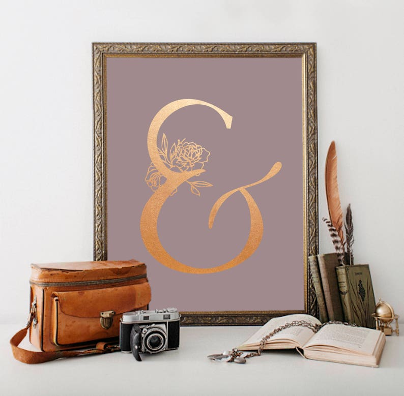 Rose Gold Ampersand Digital Print Dusky Mauve Home Decor Art