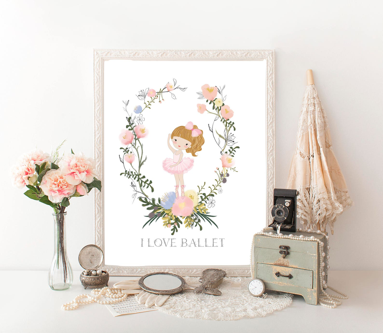 i love ballet ballerina digital print girls ballet pointe dance print home decor wall art ballet printable dance print girls roo