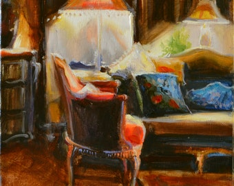 Original painting of CHAISE D'ORANGE, French interior, orange and brown, beautiful sitting room