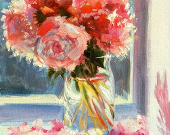 Art Print of PEONIES in a MASON jar, mason jar, pink and purple, Classic still life, oil on canvas, painting, art
