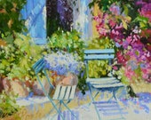 BLUE SHUTTERS ART Print of Parisian Scene Sunlit courtyard in Blue and Pink by Cecilia Rosslee