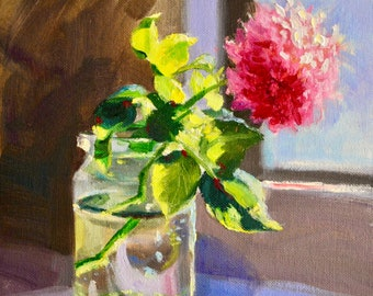 Original Painting of BLOMMETJIE, ART oil on canvas, wall art, kitchen art, roses, beautiful still life, pink rose, impressionistic painting