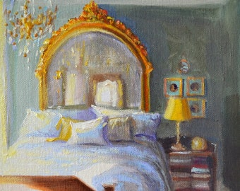 Original Oil Painting of CHATEAU BEDROOM, French interior, ART, painting of room, bedroom interior, guild mirror, yellow and purple