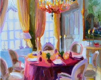 CHATEAU DINING ROOM Art Print | From An Original Painting Of A French Dining  Room By Cecilia Rosslee