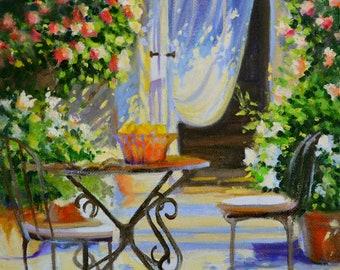 ART Print of AL FRESCO, French patio, outdoor scene,impressionistic painting