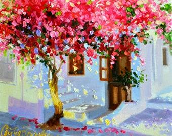 ART PRINT of MYKONOS, pink and blue, sunlit courtyard, Greece, Bougainvillea, French shutters