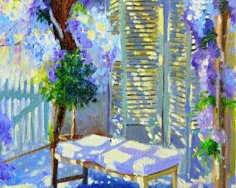 ART PRINT of WISTERIA, blue and purple, French shutters, sunlit veranda