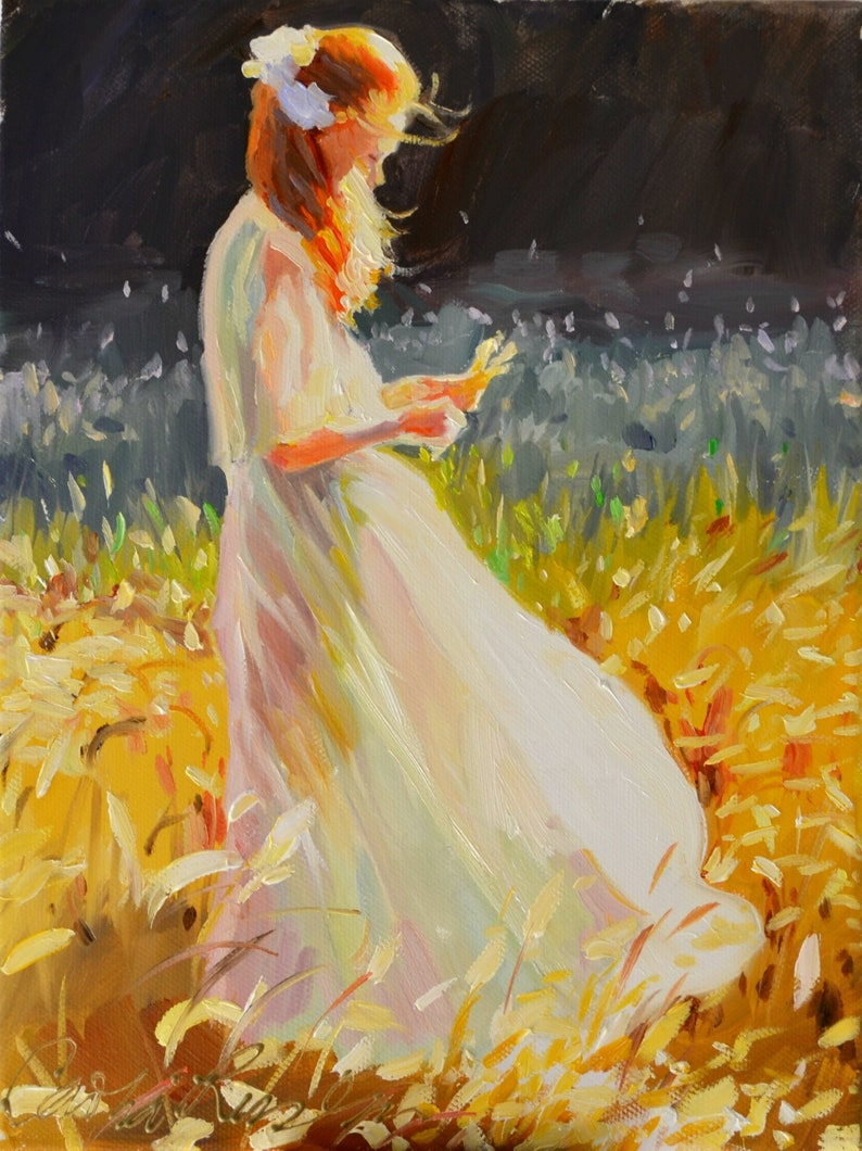 Art Print of Girl in White Dress IN the WHEAT FIELDS  image 0