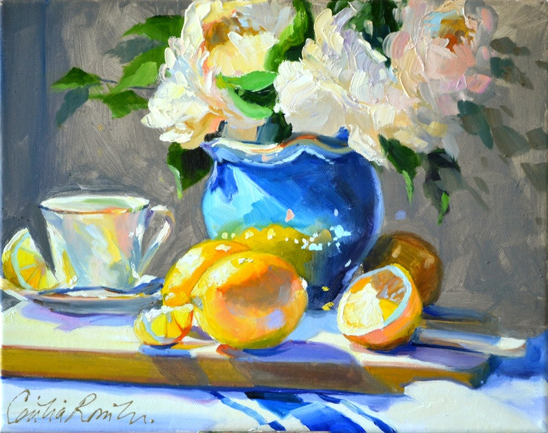Art Print of Flowers  WHITE PEONIES and LEMONS  Original Oil image 0