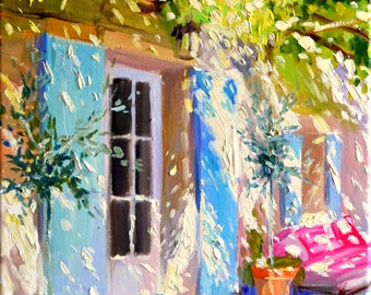 Digital, FRENCH DOOR , Blue shutters,French street scene, pergola, gift for mom, gift for her