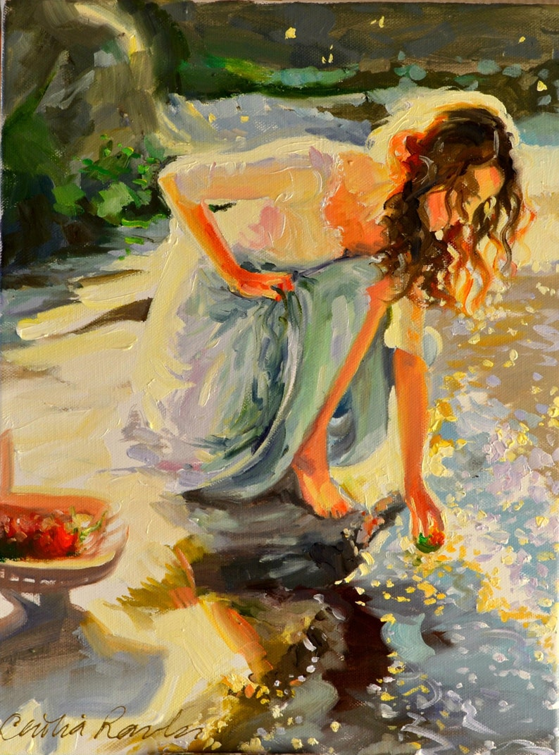Art of Woman BY THE RIVERSIDE  Impressionistic Painting  by image 0