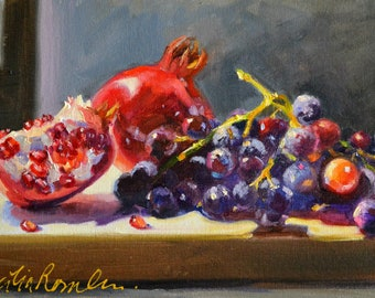 Art Print of still life of GRANATE EN DRUIWE,  perfect gift for mom,