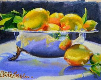 Art Print of MEYER LEMONS in SILVER,lemon fruit art,Kitchen Lemon Fruit Decor, Kitchen, Lemon Fruit Wall Art, Lemon Painting