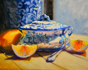 ART print of GESNYDE SUURLEMOENE, lemons and a Delft Vase. Blue and Yellow. Still life.
