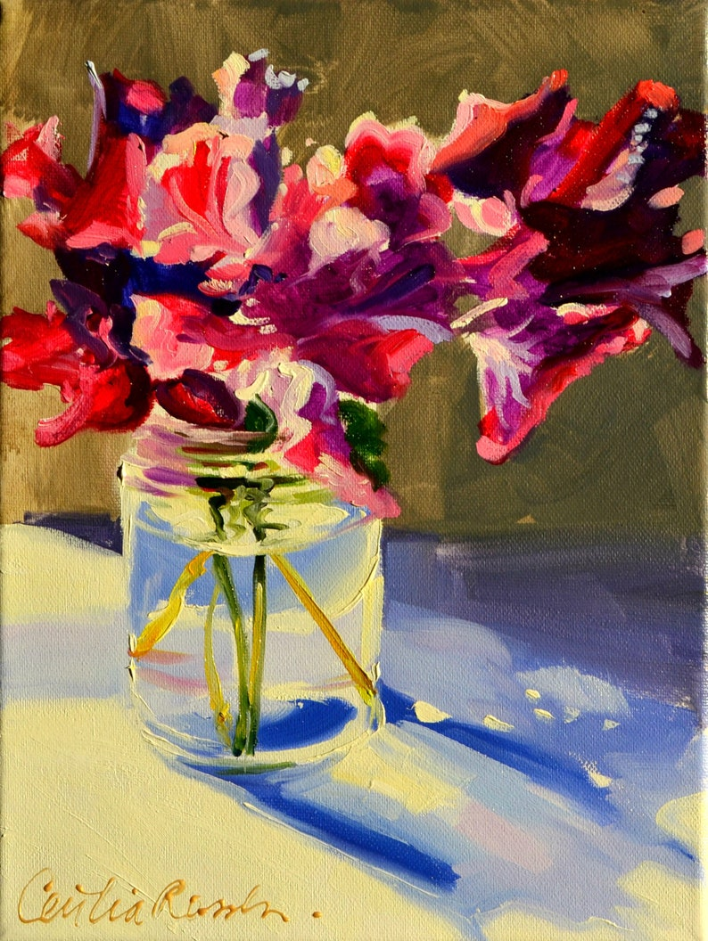 ART Print of Flower Still Life of SWEET PEAS  by Cecilia image 0