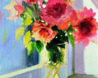 ART Print of WINDOWSILL ROSES, glass vase, roses, beautiful still life, sundrenched scene