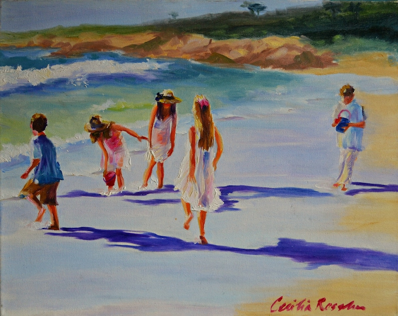 Art Print of KINDERS OP KAMPSBAAI white and purple beach image 0