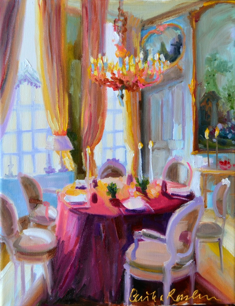 CHATEAU DINING ROOM Art Print From An Original Painting Of A