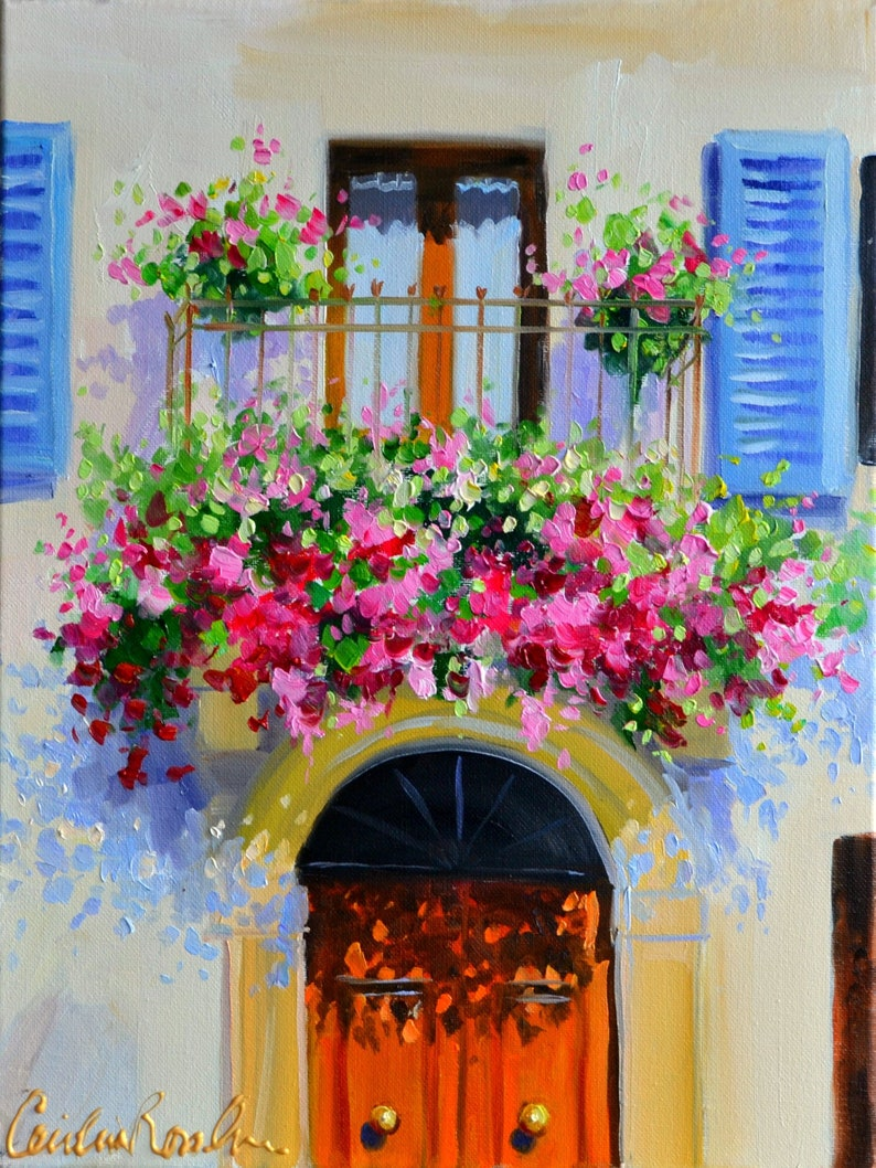 Exterior Art Print of PROVENCE BALCONY   Beautiful French image 0