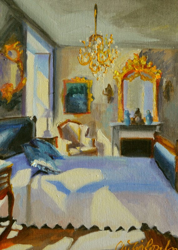 CANVAS Art Print of a FRENCH BEDROOM | Original Painting of an Interior  Room with Chandelier by Cecilia Rosslee