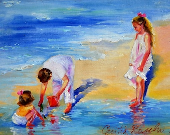 Original Painting of AT THE SEA, white and purple, beach painting, sea scene