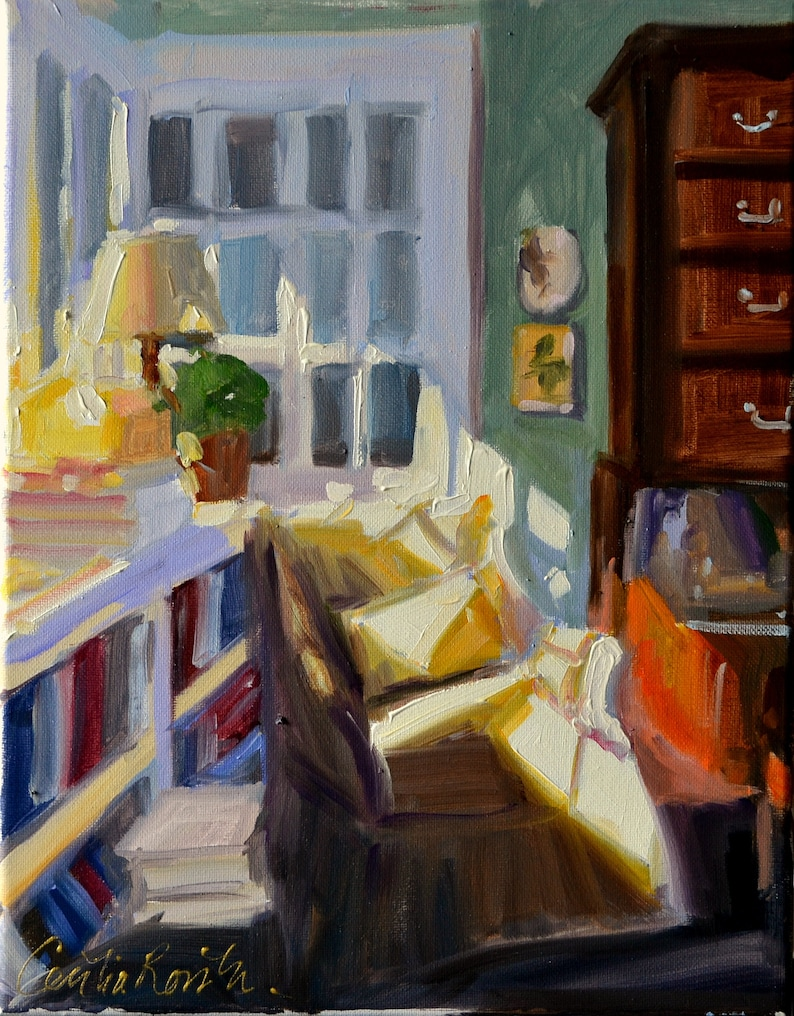 Original Oil Painting of Room Interior CHAMBRE CONFORTABLE  image 0