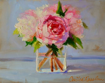 Printable download of an original painting of PEONIES, roses, pink and purple