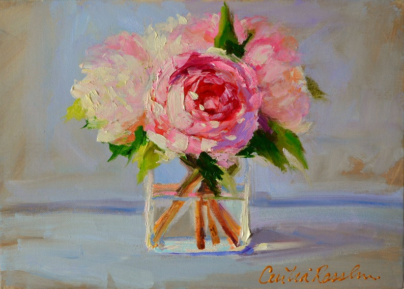 PAINTING OF PEONIES Bedroom Decor  Canvas Art Print of a image 0