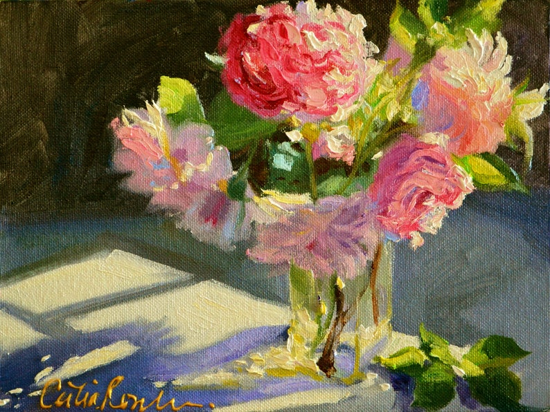 Find painting of Roses SUNLIT ROSES ART Print  Pink and image 0