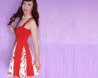 Lilo Dress - Lilo Costume Adult - Dapper Day Dress - Hawaiian Dress - Running Dress - Beach Dress - Lilo Disneybound - Red White Palm Leaf