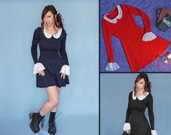 8e9489e38898 Weird Sisters Dress - Long Sleeve Dress - Peter Pan Collar - Women s  Clothing - Witch Dress - Sabrina Dress - Red Blue- Lace Collar Dress