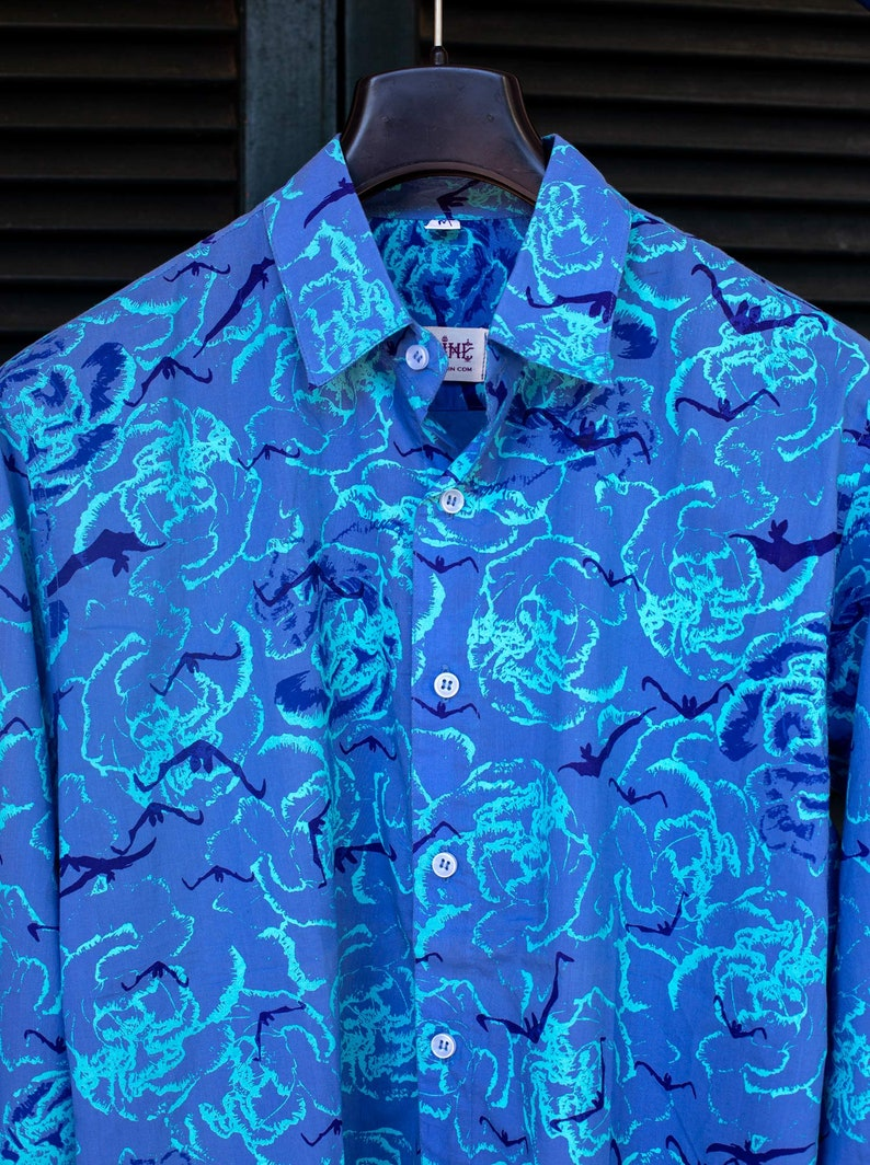 Bat Blue Mens printed shirt