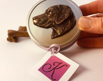 Labrador Retriever Pocket Treat Tin With A Detailed Pewter, Copper or Bronze Dog on The Lid. More Details On This Dog Owner Gift Below.