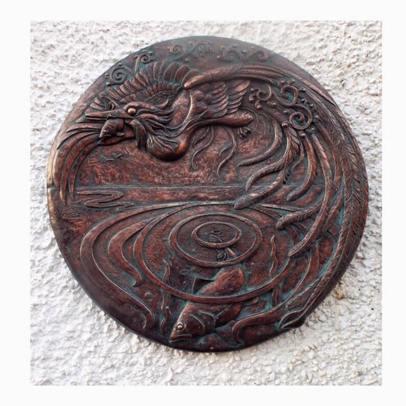 Große exquisit detaillierte dekorative kalte Guss Metall Wand Plaque  handgefertigt in UK Garten Kunst Vogel Fisch Tier Skulptur Kupfer Zinn  Bronze