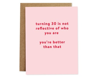 Funny Birthday Card, 30th Birthday Card, 30 Birthday Card, Card for Her, Card for Best Friend, Thirtieth Birthday, Funny Cards