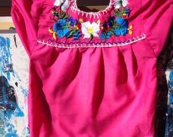 Vintage Embroidered Mexican Children's Tunic Dress