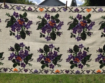 Vintage Cross-Stitched Tablecloth/Wall Hanging