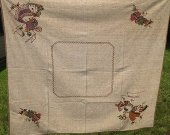 Vintage Hand Embroidered Southwest Tablecloth