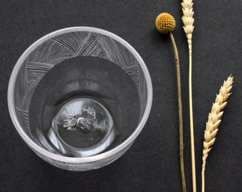 Handmade Drinking Glass with Engraved Lines Design