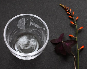 Handmade Drinking Glass with Engraved Semi-circle Design