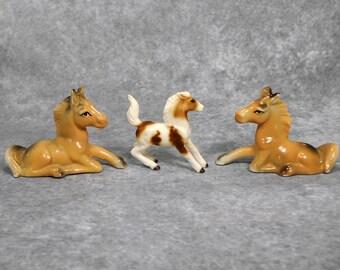 3 Vintage Bone China Horses Japan Very Pretty