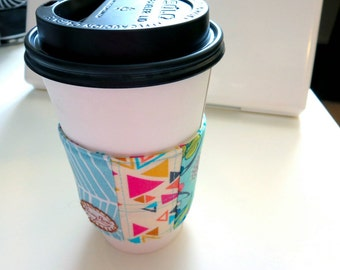 Blue and Pink Triangles Coffee Sleeve