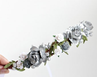 Silver Woodland Flower Crown, Bridal Headpiece, white and silver, autumn, fall, boho floral,  Wedding, Boho,  floral crown, winter, holiday