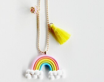 Happy Rainbow Necklace, Kids jewelry, Girls Jewelry, Party Favors, Gift, Rainbow jewelry, Summer, Kids, Rainbow Necklace, Kids Accessories