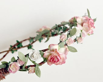 Strawberry Champagne Floral Crown, Flower Crown, Floral headpiece, Bridal Floral Crown, Garden Wedding, Wedding Floral Crown, Flower Girl